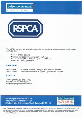 RSPCA flyer